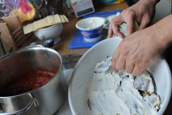 Veg lasagna - ricotta layer