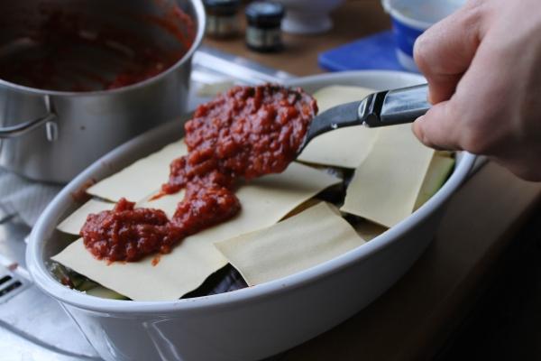 Veg lasagna - tomato sauce on pasta