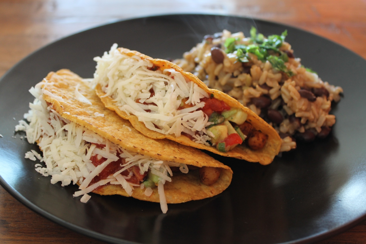 Vegan Mexican fiesta! Chickpea tacos with fresh avocado salsa and a side of rice & black beans ...