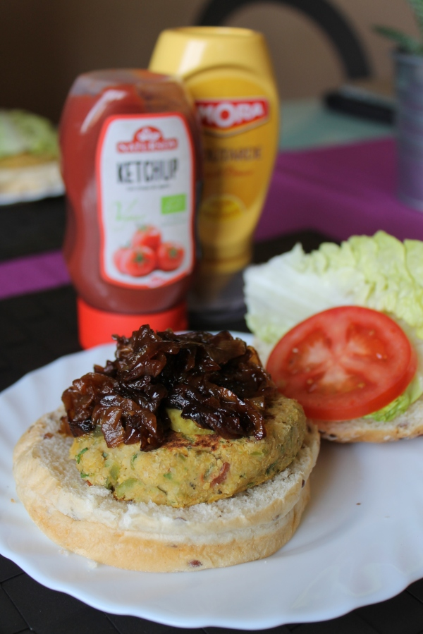 Vegan chickpea burgers with caramelized onions - Culinary Correspondence blog