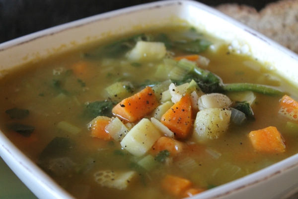Vegan root vegetable soup - close up