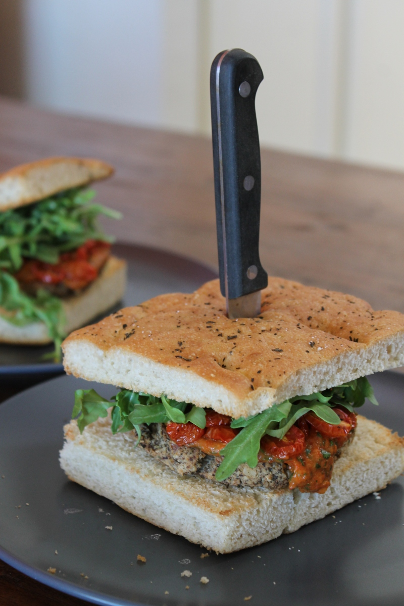 Tuscan bean burgers with roasted red pepper sauce