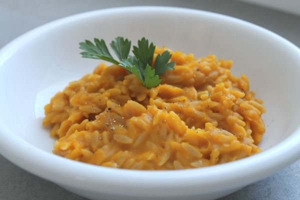 Creamy butternut squash faux risotto recipe with orzo - vegan